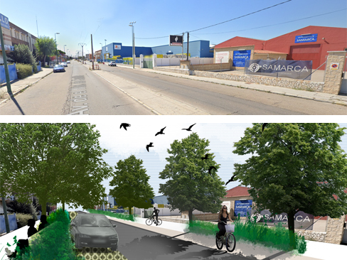 Green/Blue corridor proposal in Argales: Before and after