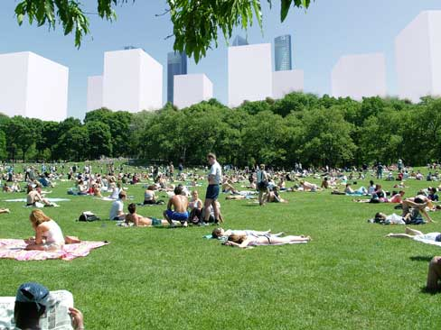 Central Park, Chamartín Urban Transformation: View of the multi activity grand lawn